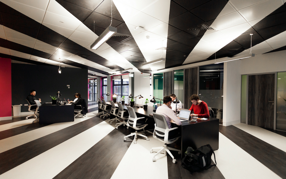 Workspace with Striped Ceiling and Floor