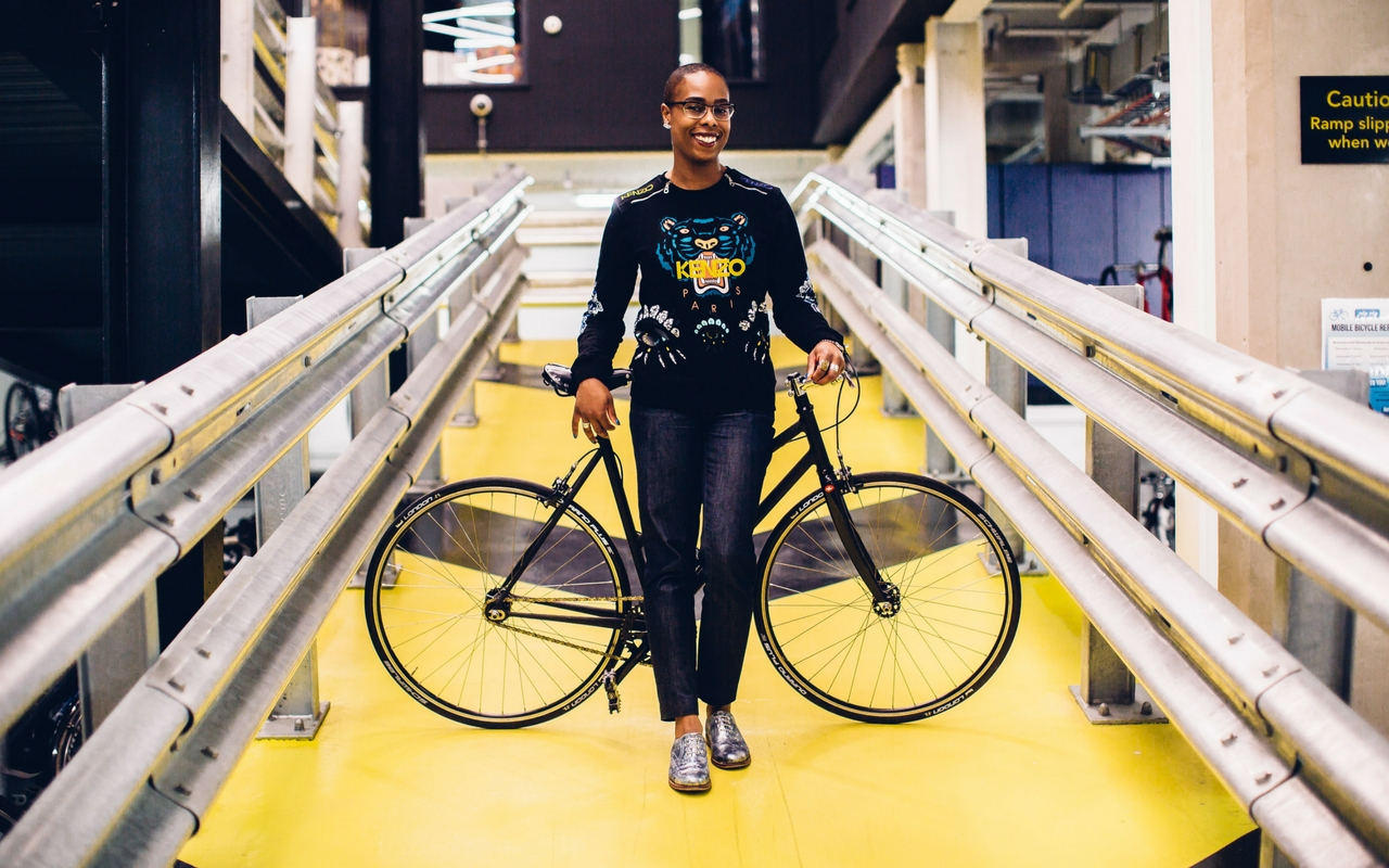 Huckletree Shoreditch Member, Freelancer Jools Walker at Huckletree Shoreditch's Bike Ramp