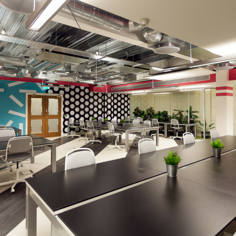 Hotdesking at Huckletree's first international coworking location, D2