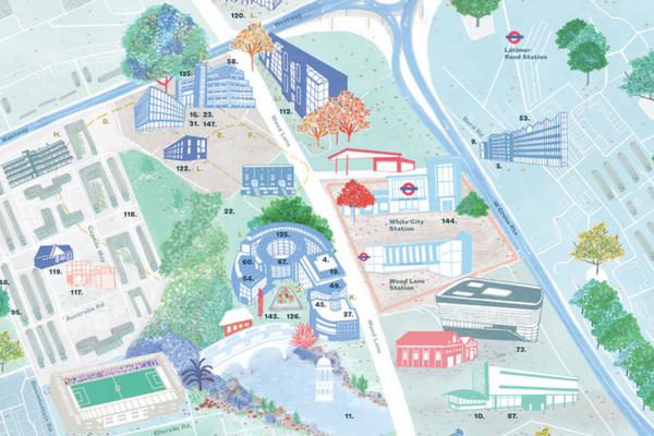Illustrated Map of West London, featuring Huckletree West and the BBC Centre