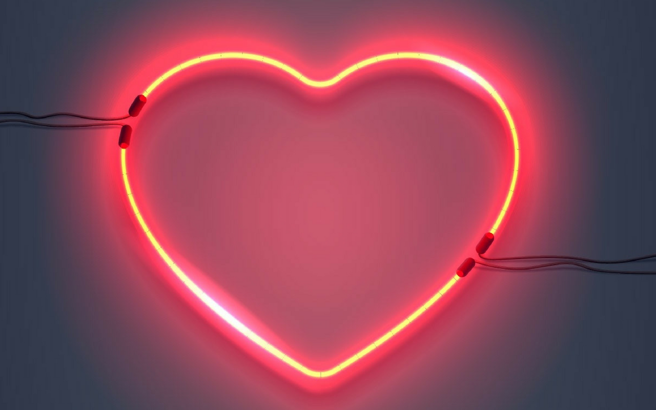 Neon Red Heart Light On Wall
