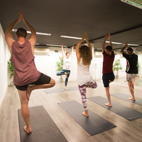 people wearing gym clothes taking part in a yoga class