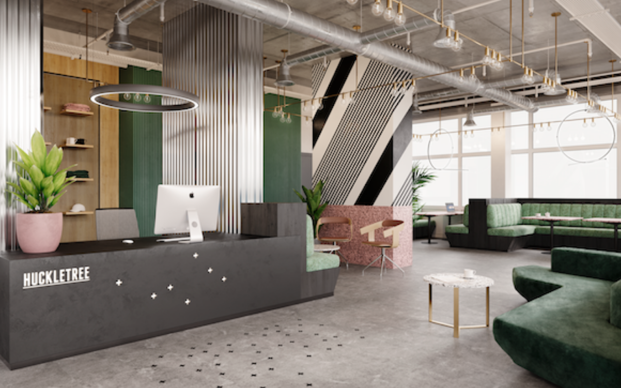 Reception Area of London Coworking Space with Plants and Millennial Pink Furniture