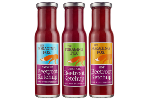 Plant based: three bottles of beetroot ketchup in different flavours: original, smoked and hot