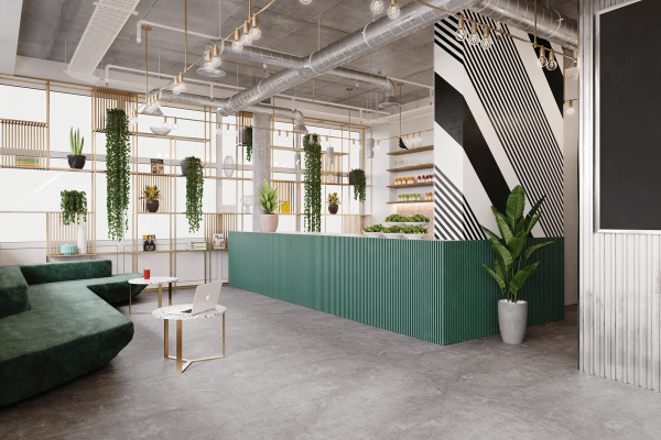 Plant based: image of a cafe with lots of plant life
