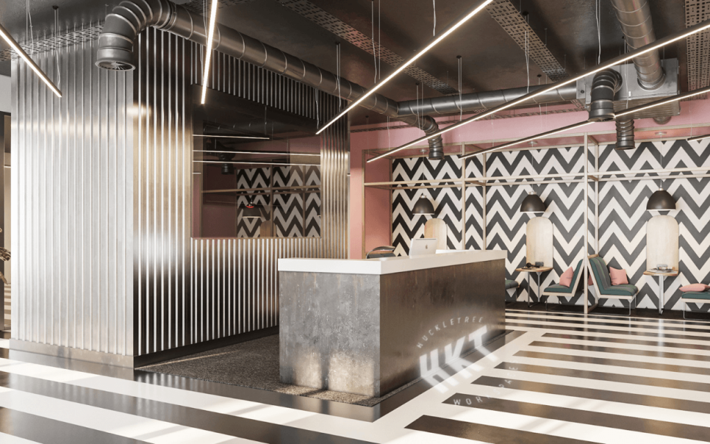 Reception area in Huckletree Manchester