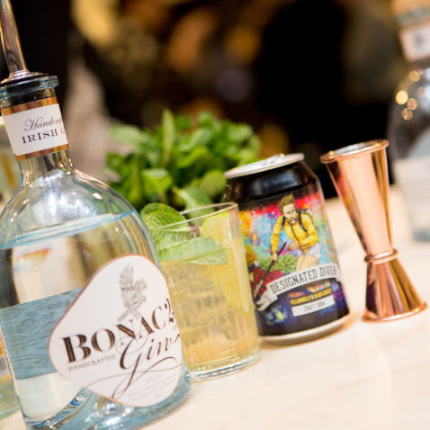 Table of drinks at a Huckletree event