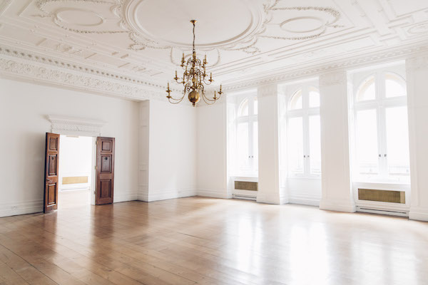 light open room with chandelier